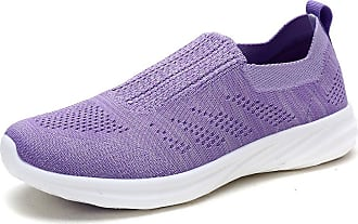 Dream Pairs Womens Slip On Trainers Mesh Lightweight Casual Walking Nursing Shoes 171114-W Lavender Size 9 US / 7 UK