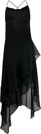 Blumarine Vestido assimétrico com sobreposição - Preto