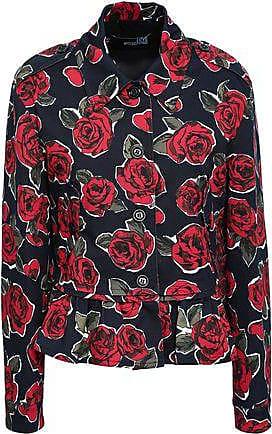 Love Moschino Love Moschino Woman Floral-print Denim Jacket Black Size 42