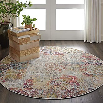Nourison Global Vintage White and Orange French Country Area Rug 4 x ROUND