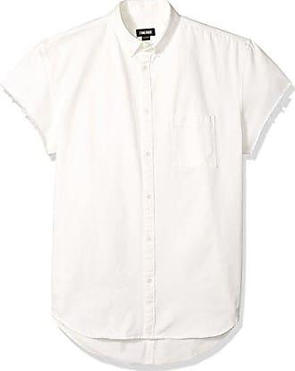 Zanerobe Mens Rise-Rugger Cut-Sleeve Shirt, Off- Off-White Denim XL
