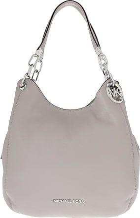 Michael Kors Lillie Large Chain Shoulder Tote Bag Pearl Grey