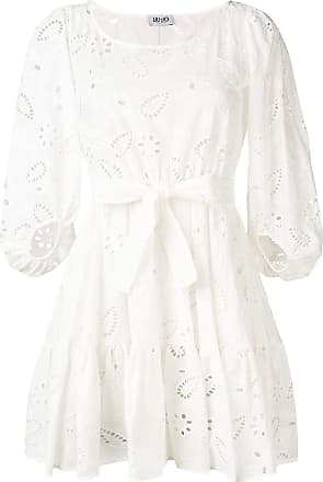 Liu Jo open embroidery tie waist dress - White