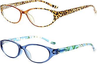 Inlefen Spring Hinges Oval Reading Glasses Resin lenses for men and women (Blue/Leopard,+250)