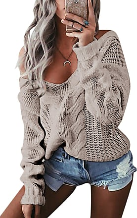 Yoins Jumpers Women Off Shoulder Knitted Sweater Baggy Sexy Casual V-Neck Long Sleeves Loose Sweatshirt,Grey-new,XXL