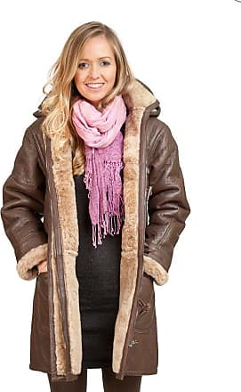 Infinity Womens Brown Long Winter Hooded Real Shearling Sheepskin Leather Duffle Coat XL
