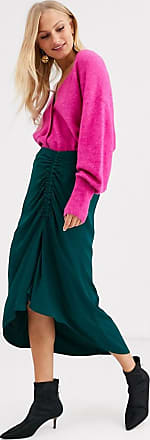 & Other Stories ruched midi skirt in bottle green