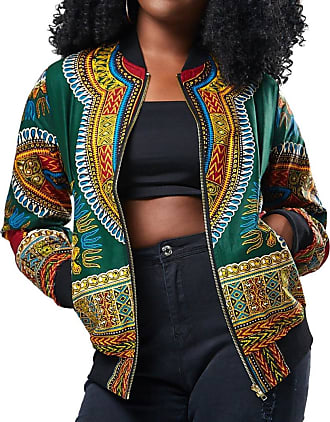 FNKDOR Design Women Traveling Cool Dashiki Long Sleeve Fashion African Print Dashiki Short Casual Jacketb Blazers(Green,UK-16/CN-L)