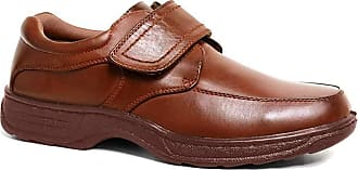 Cushion-Walk Mens Leather-Lined Lightweight Formal Business Work Comfort Lace-Up or Slip-on Shoes Size 6-11 Wide Fitting (10 UK / 44.5 EU, Brown Touch Fastening)