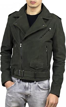 Leather Trend Italy Chiodo Uomo - Giacca in Vera Pelle colore Verde Antichizzato