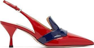 Prada Bi-colour Patent Leather Slingback Pumps - Womens - Red Navy
