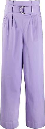 Ganni Pantalón lila ancho con cinturón