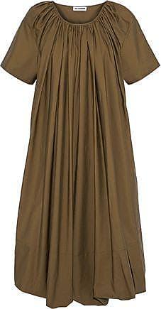 Jil Sander Jil Sander Woman Gathered Cotton-poplin Midi Dress Army Green Size 40
