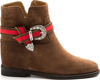 Via Roma 15 Brown ankle boots with Red Strap - 3013 Velour MARTORA - Size Brown Size: 3 UK