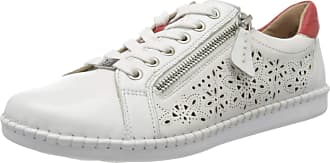 Caprice Womens Inna Low-Top Sneakers, White (White/Red 151), 6.5 UK