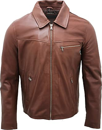 Infinity Mens Smart Brown Leather Harrington Jacket XL