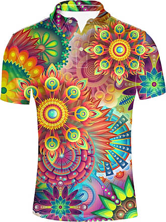 Hugs Idea Classic Mens Jersery Sport Shirt Abstract Floral Hawaiian Sleeves Sport Summer Tshirt