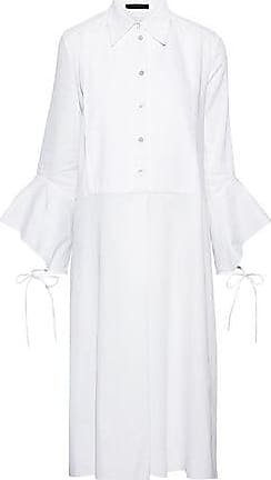 Roland Mouret Roland Mouret Woman Coen Bow-detailed Ruffled Cotton-ponte Dress White Size 10