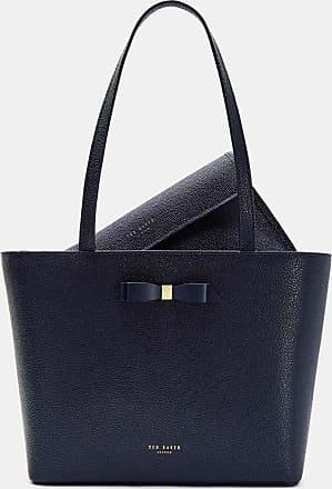 Ted Baker Bow Detail Leather Shopper Bag in Dark Blue JJESICA, Womens Accessories