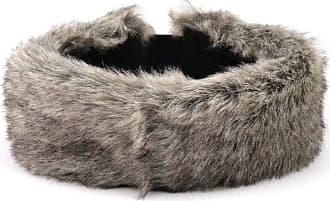 Hawkins Faux fur headband natural grey fur colour elasticated back and satin lining