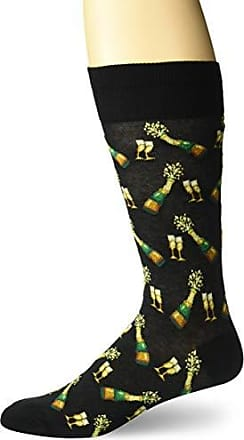 Hot Sox Mens Food and Booze Novelty Casual Crew Socks, Champagne Bottles (black) Shoe Size: 6-12
