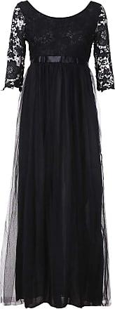 FNKDOR Women Chiffon Wedding Bridesmaid Dress Elegant Half Sleeve Long Maxi Evening Party Prom Gown Lace Long Dress Black