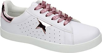 Spot On Ladies Womens Flat Lace Up Star Pumps Skate Style Glitter Trainers Shoes Size - White/Pink - UK 5