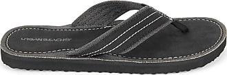 Urban Beach Mens Ridge FW542 Toe Post Beach Flip Flops Sandals Shoes (Size 7, Black)