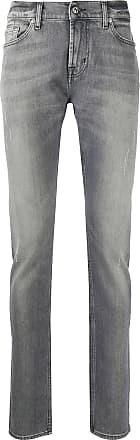 7 For All Mankind Calça jeans reta cintura média - Cinza