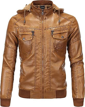 QUINTRA Mens Autumn Winter Casual Long Sleeve Solid Thicken Hooded Leather Jacket S- 3XL Yellow