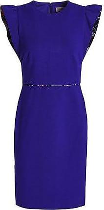 Emilio Pucci Emilio Pucci Woman Ruffle-trimmed Stretch-ponte Mini Dress Royal Blue Size 40