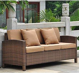 International Caravan Inc Barcelona Resin Wicker/Aluminum Outdoor Sofa with Cushions and Throw Pillows (Antique Brown/Coffee)