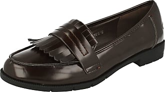 Spot On Ladies Smart Fringed Loafers - Brown Synthetic - UK Size 4 - EU Size 37 - US Size 6