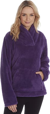 Forever Dreaming Womens Ladies Snuggle Fleece Bed Jacket Shawl Collar Pyjama Top Lounge Nightwear Purple XL