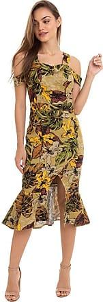 Kinara Vestido Linho Floral Peplum Fenda-GG