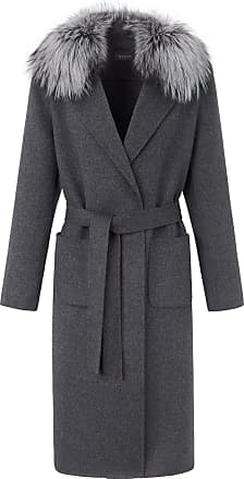 Basler Coat in 100% wool faux fur trim Basler grey