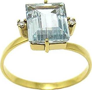 Boreale Joias Anel Solitário Ouro 18k 750 Água Marinha Com Diamantes