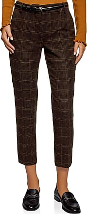oodji Collection Womens Checkered Trousers in Heavyweight Fabric, Brown, UK 14 / EU 44 / XL