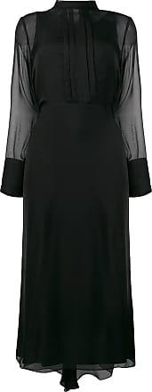 Irina Schrotter Vestido midi translúcido - Preto