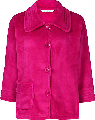 Slenderella Ladies 3/4 Sleeve X Large Soft Dark Pink Fleece Button Up Bed Jacket