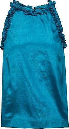 Raoul Raoul Woman Ruffle-trimmed Crepe De Chine Top Teal Size XS