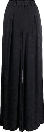 Staud Calça pantalona com estampa floral - Preto