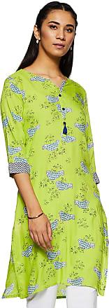 Indigo Womens Rayon Straight Kurta (AW19/IND-1228_ Lime Green_ Medium)