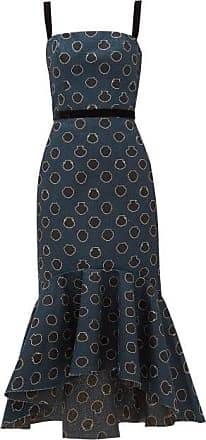 Johanna Ortiz Vase-print Canvas Midi Dress - Womens - Black Navy
