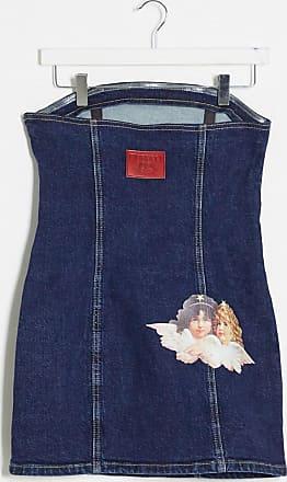 Fiorucci Bella denim dress with angels patch in dark wash blue-Black