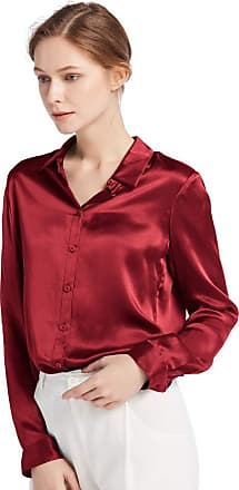 LilySilk Womens 100 Charmeuse Silk Blouse for Lady Long Sleeve Top 22 Momme Pure Silk (XXL/20-22, Claret)