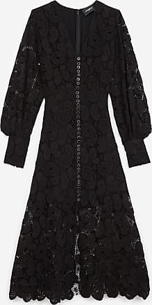 The Kooples Lange zwarte jurk met kant en knopen - DAMES