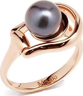 Misaki Bague fine First dorée rose avec perle de culture bleue foncée - taille 52