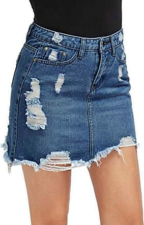Inlefen Skirt for Women Denim Mini Skirt High Waisted Summer Casual Pencil Skirts(Deep Blue-XL)