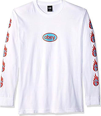 Obey Mens Creeper Flame Heavyweight Long Sleeve Tshirt, Black, S